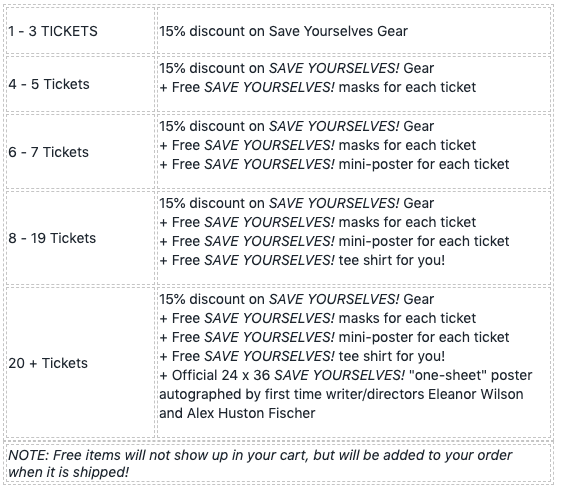 SAVE YOURSELVES! - San Francisco Metreon - Movie Tickets