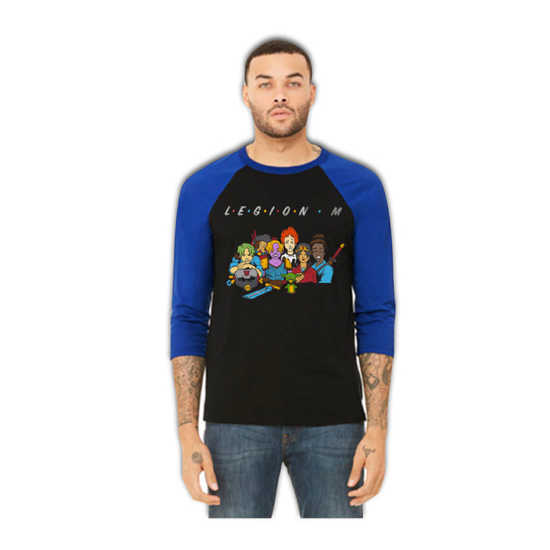 LEGION M - Friends Unite! - Black/Blue Raglan