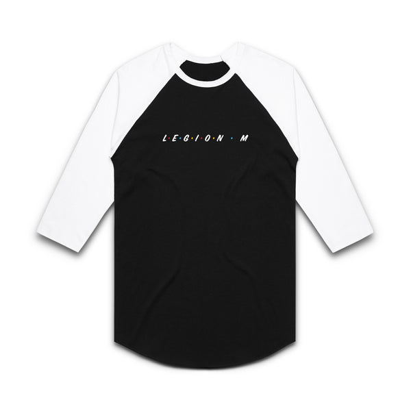 LEGION M - Friends Unite! (Logo Only) - Black/White Raglan