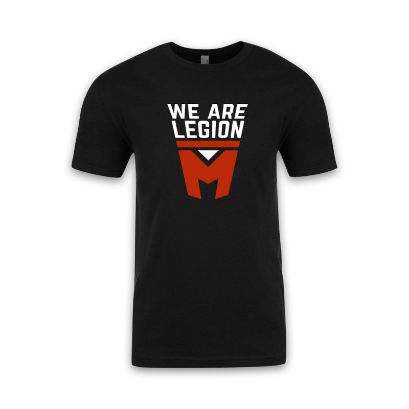 LEGION M - We Are Legion M Stacked Shield - Black Tee