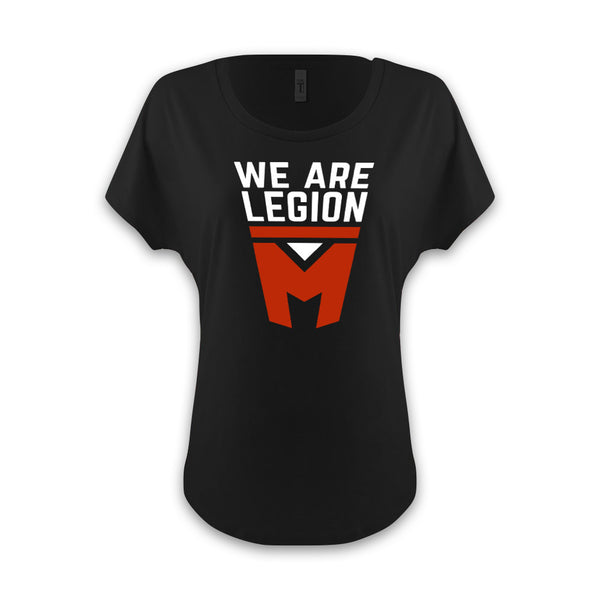 LEGION M - We Are Legion M Stacked Shield - Women's Dolman Black Tee