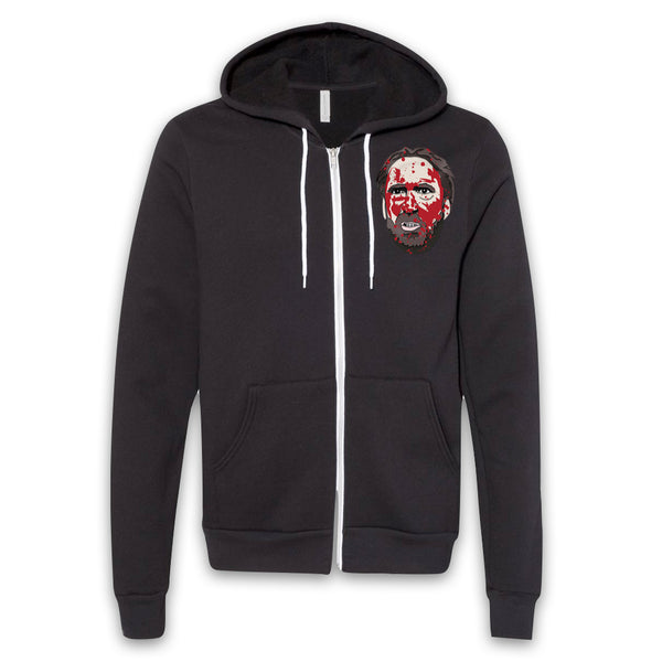 MANDY - Red Miller Bloody Head - Pocket Print Zip-Up Hoodie