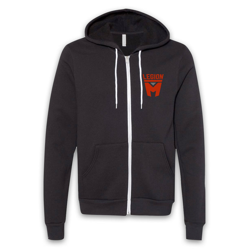 LEGION M - Red Shield Pocket Logo Zip-Up Hoodie