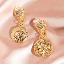 1 Pair Rhinestone Engraved Star Round Mismatched Drop Glamorous Earrings - Rewards Bonanza