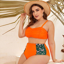 Plus Contrast Floral Ruched High Waisted Bikini Swimsuit - Rewards Bonanza