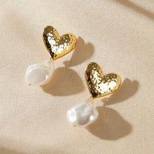 1 Pair Textured Heart Decor Faux Pearl Drop Multi color Earrings
