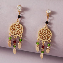 1 Pair Leaf Charm Hollow Out Floral Design Drop Earrings - Rewards Bonanza
