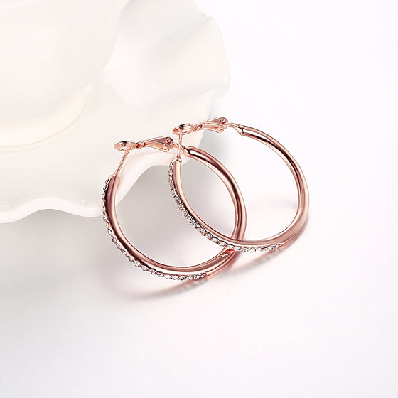 Rose Gold Round Czech Diamond Earrings - Rewards Bonanza