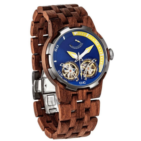 Men's Dual Wheel Automatic Kosso Wood Watch - 2019 Most Popular - Rewards Bonanza