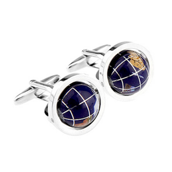 Exquisite Blue Rotating Globe Earth Shaped Cufflinks (Ships From USA) - Rewards Bonanza