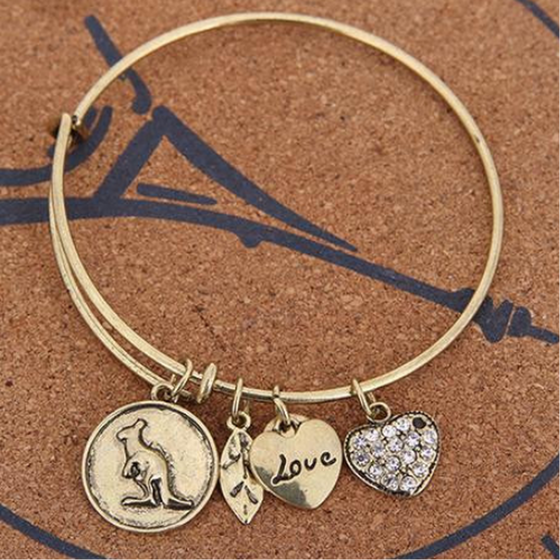 Love Kangaroo Charm Bangle (Ships From USA) - Rewards Bonanza