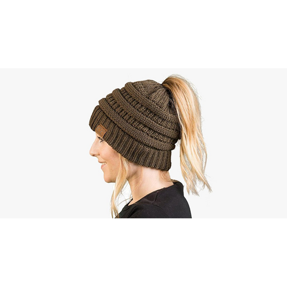 Soft Knit Ponytail Beanie (Ships from USA) - Rewards Bonanza