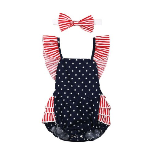 4th of July Newborn Baby Girls My 1st Independence - Rewards Bonanza