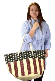 All American Patriotic Flag Beach Summer Tote Travel Bag 4th of July - Rewards Bonanza