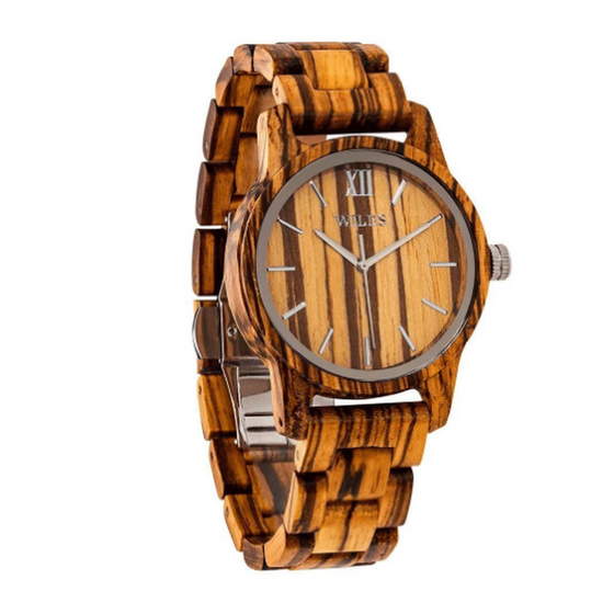Men's Handmade Engraved Zebra Wooden Timepiece - Personal Message on the Watch - Rewards Bonanza