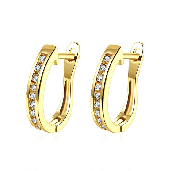 Thin Linin Swarovski Elements Earrings in 14K Gold - Rewards Bonanza