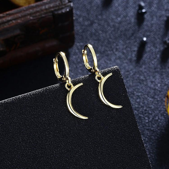 Golden Moon Drop Earrings - Rewards Bonanza