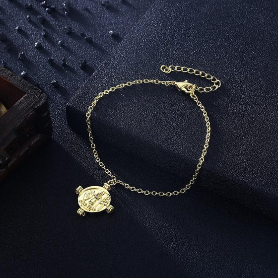 Greek Coin Caeser Bracelet in 18K Gold Plated - Rewards Bonanza