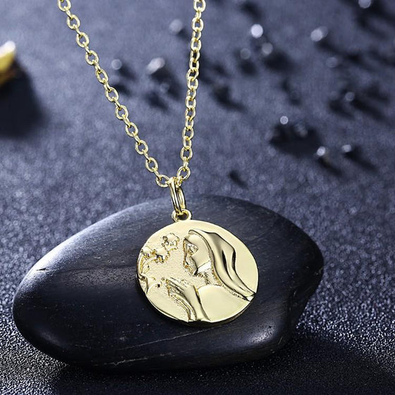 Greek Goddess Coin Necklace in 18K Gold Plated - Rewards Bonanza