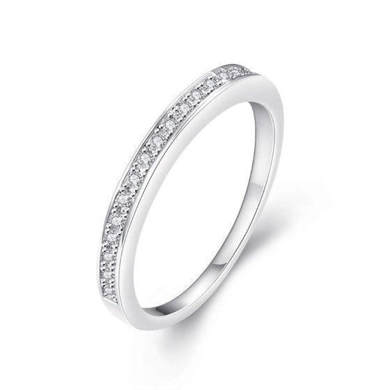 Classic Swarovski Crystal Wedding Band Ring Set in 18K White Gold Plated - Rewards Bonanza