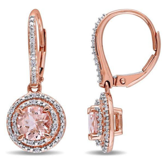 6.13 CTTW Morganite Gemstone Dangling Earrings in 14K Rose Gold - Rewards Bonanza