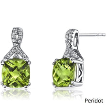 2.00 CT Cushion Cut Peridot Stud Earring in 18K White Gold Plated - Rewards Bonanza