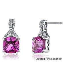 2.00 CT Cushion Cut Pink Tourmaline Stud Earring in 18K White Gold Plated - Rewards Bonanza