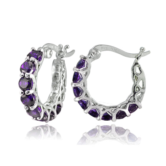 "4.00 CT Amethyst Gemstone 1"" French Lock Hoop Earringin 18K White Gold Plated - Rewards Bonanza"