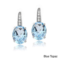 2.55 CTTW Blue Topaz Pav'e Hookback Earrings in 18K White Gold - Rewards Bonanza