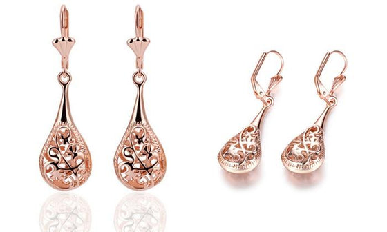 6 g 18K Rose-Gold Plated Bohemian Laser Cut Drop Earrings - Rewards Bonanza