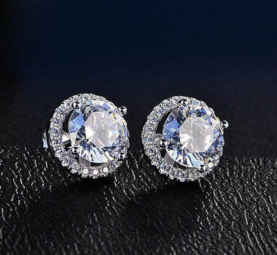 Halo Stud Earrings Swarovski Crystals FREE Gift Box - Rewards Bonanza