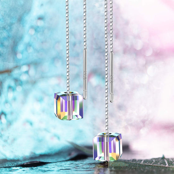 Aurora Borealis Swarovski Elements Dangling Earrings in 18K White Gold - Rewards Bonanza