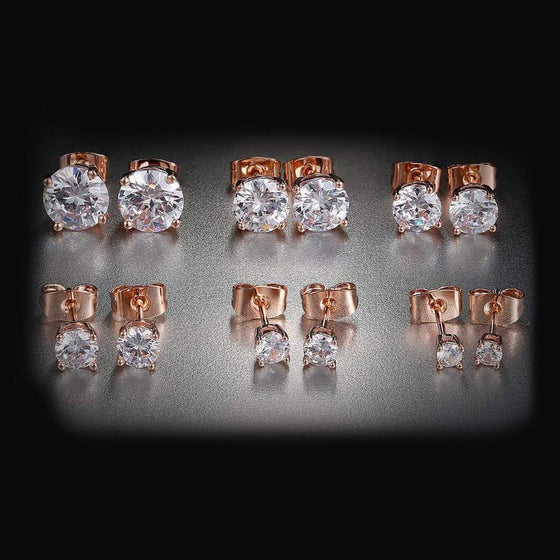 6 Piece Graduating Classic Swarovski Elements Studs in 14K Rose Gold Plated - Rewards Bonanza