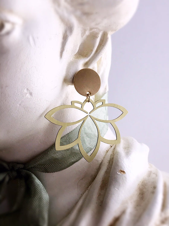 lotus earrings - brushed brass - Rewards Bonanza