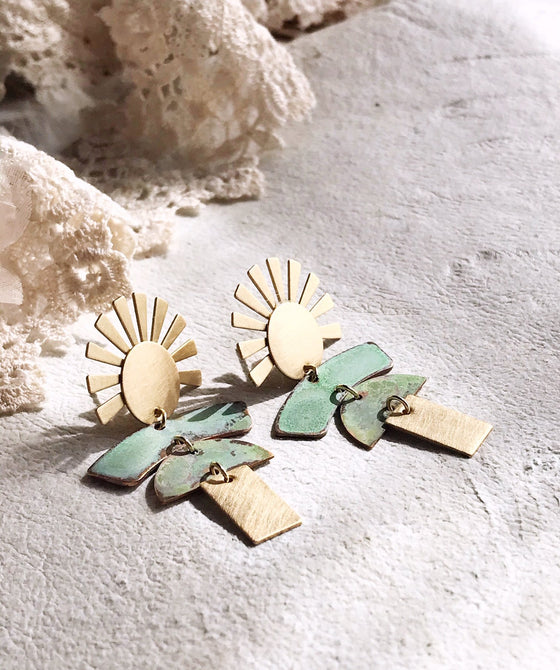 kachina doll earrings - brushed brass / verdigris - Rewards Bonanza