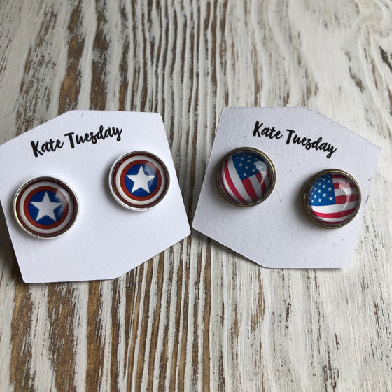 American Patriotic 12mm Stud Earrings 4th of July - Rewards Bonanza