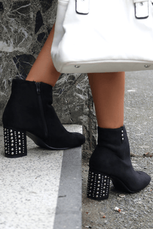 Rahila Studded Suede Ankle Boots - Rewards Bonanza