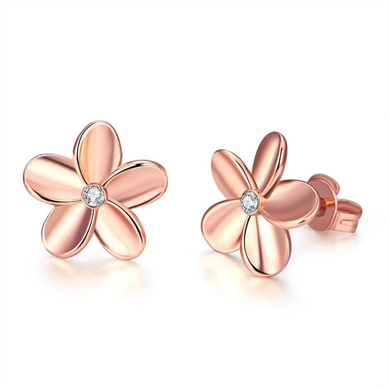 Swarovski Crystal Flower Stud Earring - 14K Rose Gold Plated - Rewards Bonanza