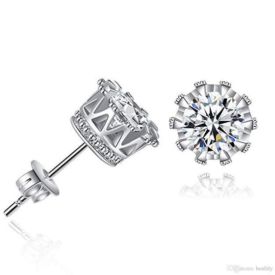 Pave Halo Round Princess Stud Earring Embellished Swarovski Crystals in 18K White Gold Plated - Rewards Bonanza