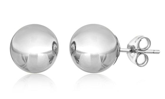 6mm Classic Ball Stud Earring - 14K White Gold Plated - Rewards Bonanza