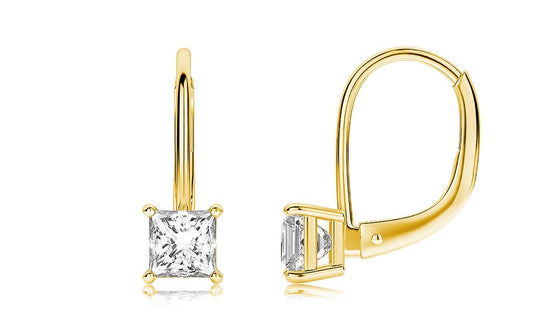 Diamond Princess Cut Leverback Earringin 18K Gold Plated - Rewards Bonanza