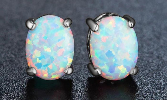 3.00 CT Oval Cut Opal Stud Earring in 18K White Gold Plated - Rewards Bonanza