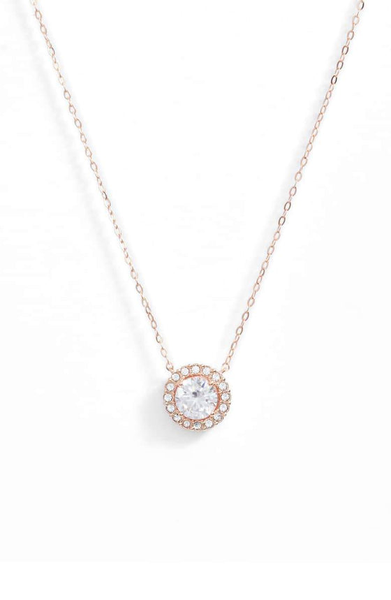 "1.00 CT Swarovski Crystal Halo Disc Necklace 18"" - 18K Rose Gold Plated - Rewards Bonanza"