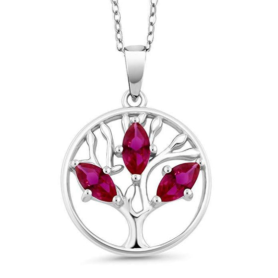 Motherly 2.00 CT Ruby Pear Cut Tree Of Life Necklace in 18K White Gold Plated - Rewards Bonanza
