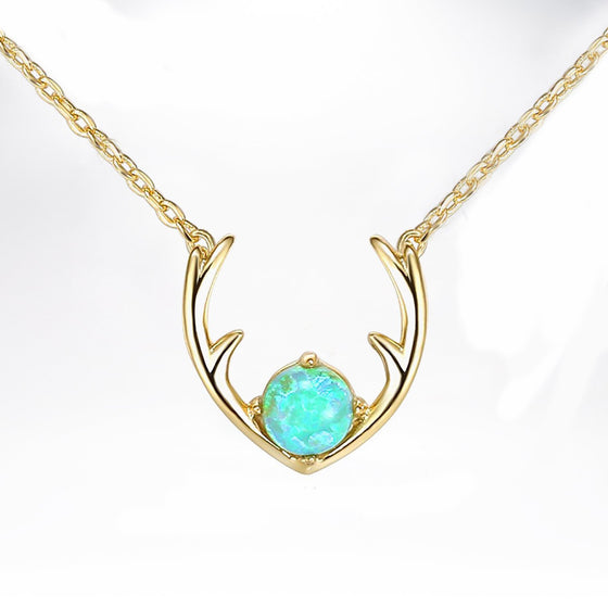 Opal Created Moose Antlers Necklace in 18K Gold Plated - Rewards Bonanza