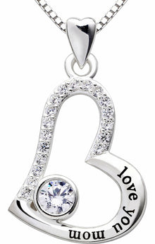 """I Love you MOM"" Heart Necklace Embellished Swarovski Crystals in 18K White Gold Plated - Rewards Bonanza"