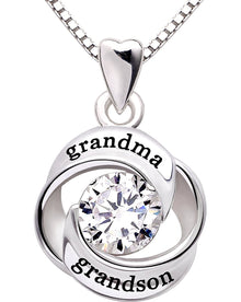 """GRANDMA GRANDSON"" Heart Necklace Embellished Swarovski Crystals in 18K White Gold Plated - Rewards Bonanza"