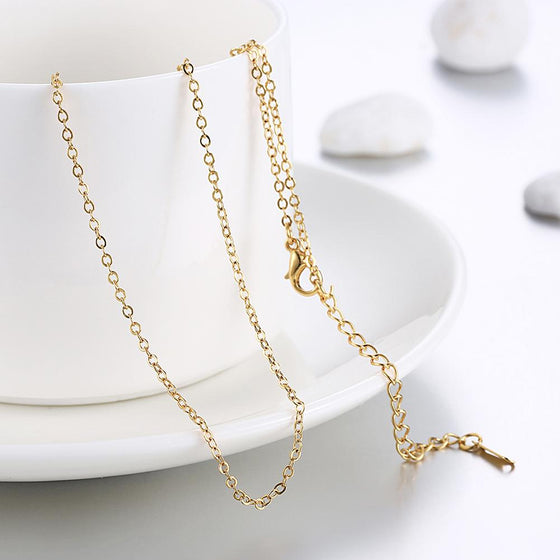 1.5MM*46CM 5CM 18K Gold Plated Classic London Chain Link Necklace - Rewards Bonanza