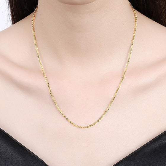 18K 1.5MM*46CM 5CM Gold Plated Classic New York Chain Link Necklace - Rewards Bonanza