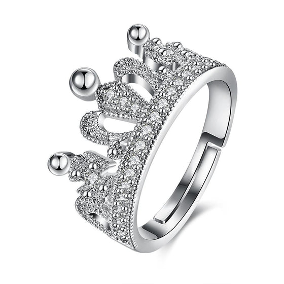 Swarovski Elements Adjustable Princess Tiara Ring in 18K White Gold Plating - Rewards Bonanza